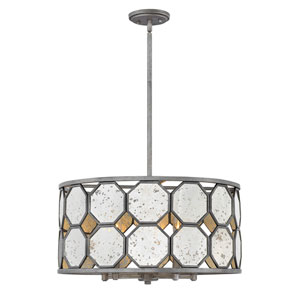 Lara Brushed Silver 22-Inch Five-Light Single Tier Drum Pendant
