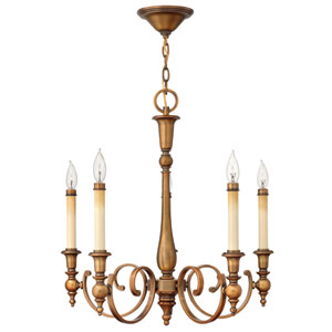 Yorktown Brushed Bronze Five-Light Chandelier
