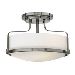 Harper Brushed Nickel Three Light Semi Flush Mount