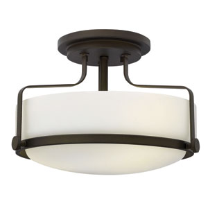 Harper Oil Rubbed Bronze 14.5-Inch Three-Light Semi-Flush Mount