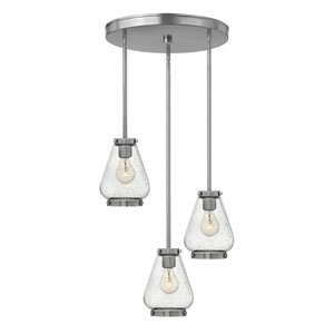 Finley Brushed Nickel 17-Inch Three-Light Pendant