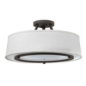 Harrison Buckeye Bronze Three-Light Semi Flush Mount