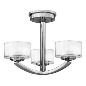 Meridian Chrome Three-Light Semi-Flush