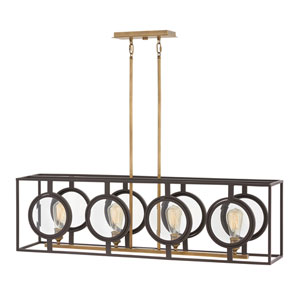 Fulham Buckeye Bronze Four-Light Linear Pendant