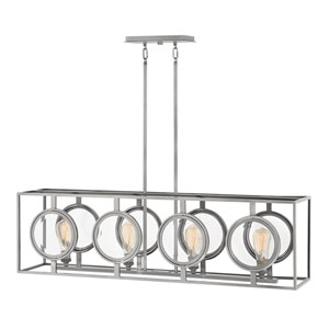 Fulham Polished Antique Nickel Four-Light Linear Pendant
