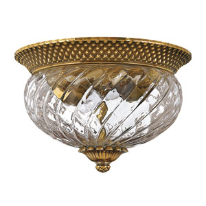 Plantation Burnished Brass Two-Light Flush Ceiling Light