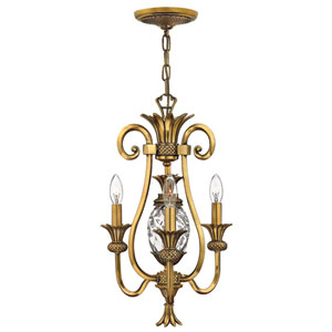 Plantation Burnished Brass Three-Light Chandelier