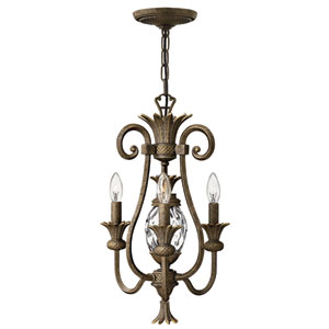 Plantation Pearl Bronze Three-Light Chandelier