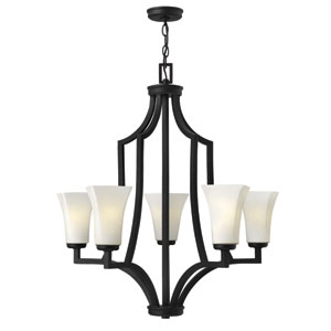 Spencer Textured Black Five Light Chandelier