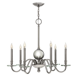 Everly Polished Nickel Seven Light Chandelier