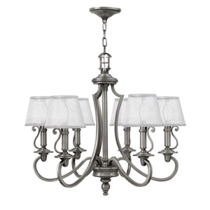 Plymouth Polished Antique Nickel 24.5-Inch Six-Light Chandelier