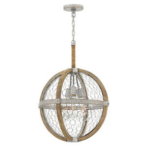 Heywood Weathered Zinc 19-Inch Three-Light Single Tier Globe Pendant
