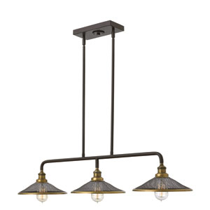 Rigby Buckeye Bronze Three-Light Linear Pendant