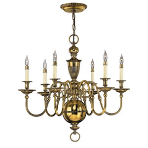 Cambridge Burnished Brass Six-Light Chandelier