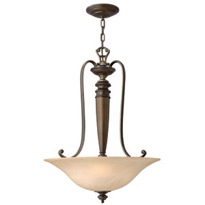 Dunhill Royal Bronze Three-Light Bowl Pendant