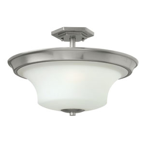 Brantley Brushed Nickel Three Light Semi Flush Mount