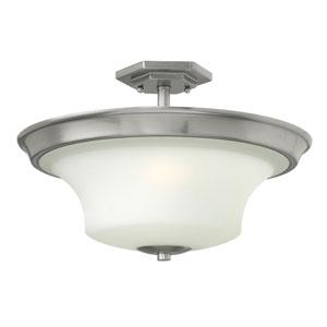 Brantley Brushed Nickel 11-Inch LED Three-Light Semi Flush Mount