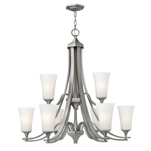 Brantley Brushed Nickel Nine Light Chandelier