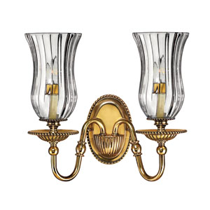 Oxford Burnished Brass Two-Light Sconce with Glass Shades