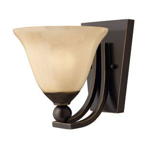 Bolla Olde Bronze 8.5-Inch One-Light LED Wall Sconce with Light Amber Seedy Glass