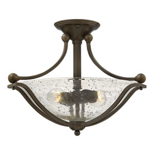 Bolla Olde Bronze 19.5-Inch Two-Light Semi-Flush Mount
