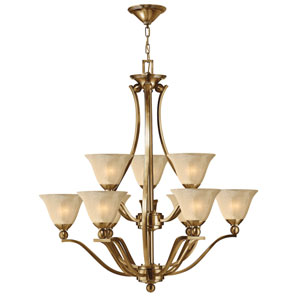Bolla Brushed Bronze Nine-Light Chandelier