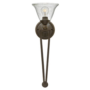 Bolla Olde Bronze 26-Inch One-Light Wall Sconce with Clear Seedy Glass