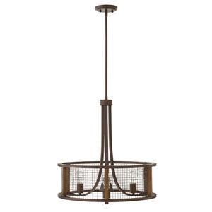 Odeon Oil Rubbed Bronze Three-Light 18-Inch Stem Hung Pendant