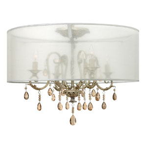 Carlton Silver Leaf Four Light Flush Mount