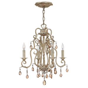 Carlton Silver Leaf Four Light Chandelier