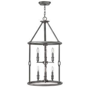 Dakota Polished Antique Nickel Six-Light Foyer Pendant