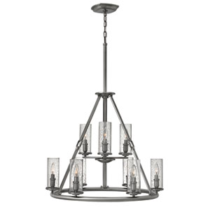 Dakota Polished Antique Nickel Nine-Light Chandelier
