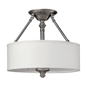 Sussex Brushed Nickel Semi-Flush Ceiling Light