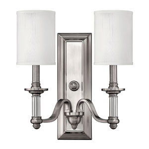 Sussex Brushed Nickel Two-Light Wall Sconce with Two Shades
