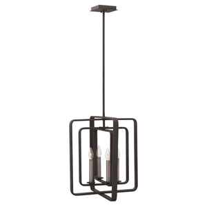 Quentin Aged Zinc 17-Inch Four-Light Stem Hung Foyer