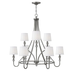Morgan Antique Nickel Nine-Light Chandelier