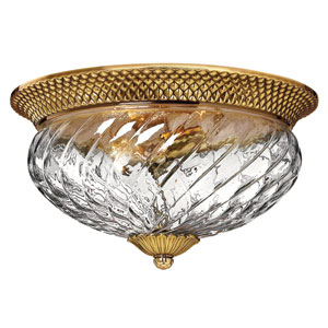 Plantation Burnished Brass Flush Mount Ceiling Light