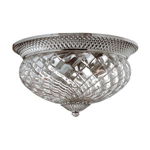 Plantation Polished Antique Nickel Three-Light Flush Mount