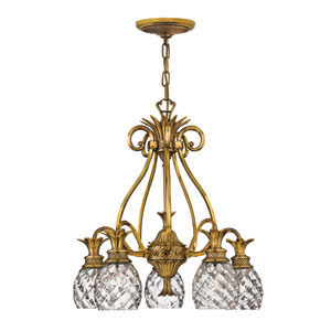 Plantation Burnished Brass Five-Light Chandelier