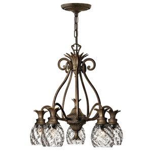 Plantation Pearl Bronze Five-Light Chandelier