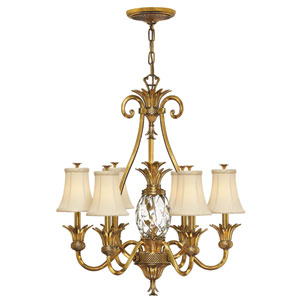 Plantation Burnished Brass Seven-Light Chandelier