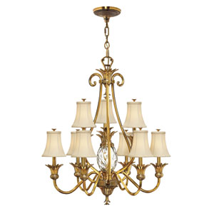 Plantation Burnished Brass Ten-Light Chandelier