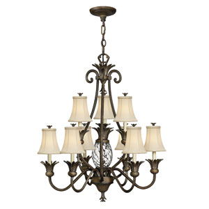 Plantation Pearl Bronze Ten-Light Chandelier
