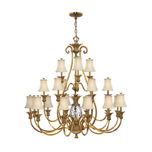 Plantation Burnished Brass Twenty-Two Light Chandelier