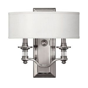 Sussex Brushed Nickel Two-Light Wall Sconce with One Shade