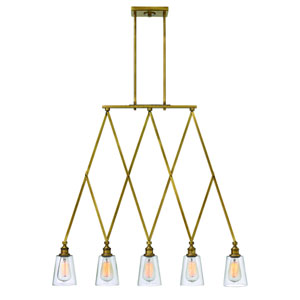 Gatsby Heritage Brass Five Light Pendant