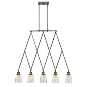 Gatsby Polished Antique Nickel Five Light Pendant
