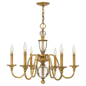 Eleanor Heritage Brass Six-Light Chandelier