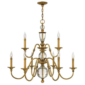 Eleanor Heritage Brass Nine-Light Chandelier