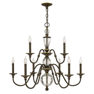Eleanor Light Oiled Bronze Nine-Light Chandelier